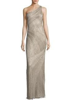 Parker Black Tasha One-Shoulder Beaded Sequin Evening Gown
