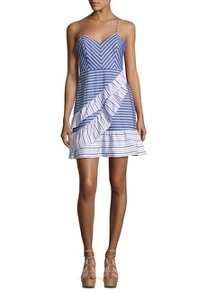 Parker Brooklyn Striped Layered Ruffled Dress