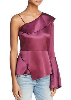 Parker Cache Cold-Shoulder Silk Top