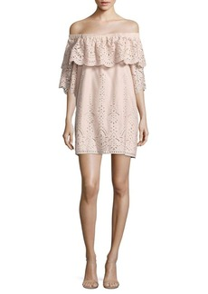Parker Cathy Ruffled Off-The-Shoulder Eyelet Cotton Dress