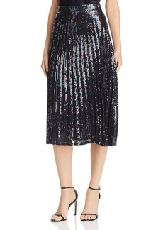 Parker Citrine Sequined Pleated Midi Skirt