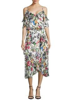 Cold-Shoulder Floral Ruffle Dress
