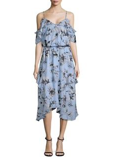 Parker Cold-Shoulder Ruffle Floral Dress