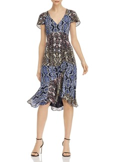 Parker Delia Snakeskin-Printed-Silk Dress