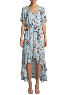 Parker Demi Floral-Print Silk High-Low Wrap Dress