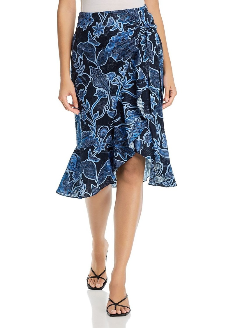 Parker Drew Cotton Faux-Wrap Midi Skirt