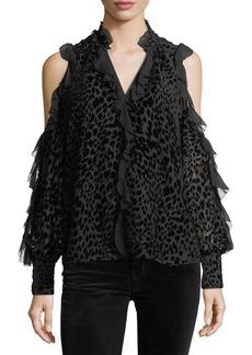 Parker Elana Leopard Burnout Cold-Shoulder Blouse