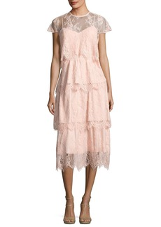 Parker Elsa Tiered Lace Midi Dress