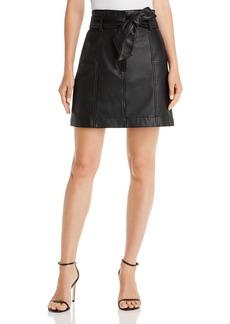 Parker Emmett Tie-Waist Leather Mini Skirt