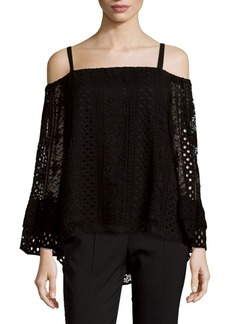 Parker Eyelet Cold Shoulder Blouse