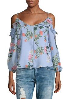 Parker Floral Cold-Shoulder Top
