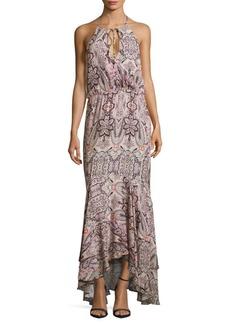 Parker Francesca Halterneck Sleeveless Floral-Print Dress