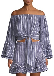 Parker Georgina Stripe Off-The-Shoulder Bell-Sleeve Crop Top