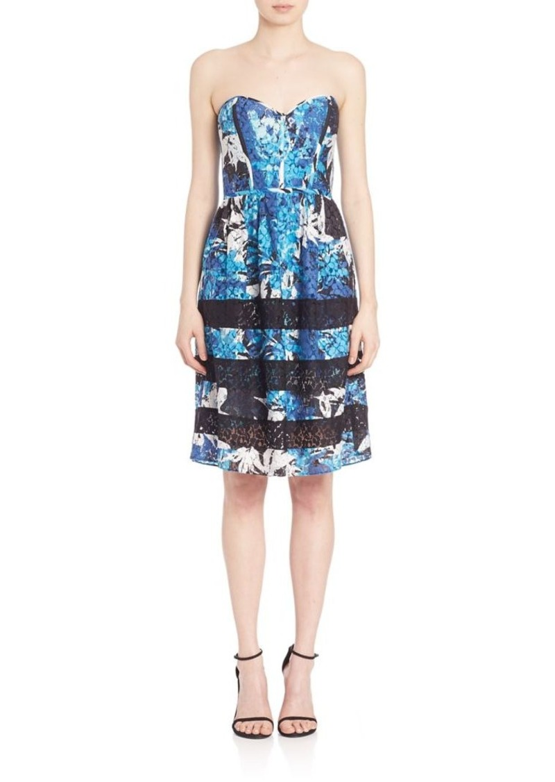 Parker Holly Strapless Floral Lace Combo Dress