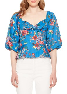 Parker Iggy Floral Balloon Sleeve Cotton Blouse