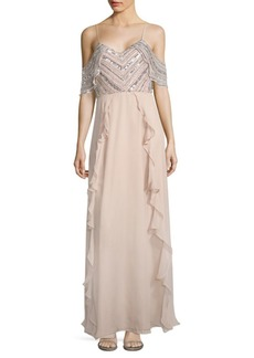 Parker Irene Cold-Shoulder Silk Gown