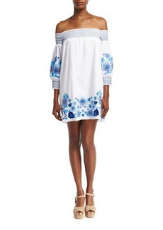Parker Jace Embroidered Poplin Mini Dress