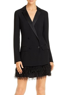 Parker Jax Blazer Dress with Faux Feather Trim