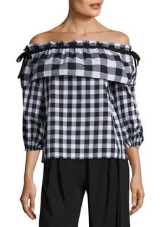 Parker Jenay Gingham Off-The-Shoulder Blouse