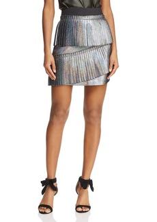 Parker Joss Metallic Ruffled Mini Skirt