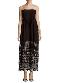 Parker June Straight-Across Neckline Embroidered Dress