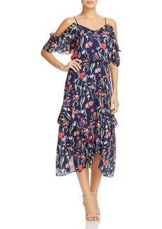 Parker Kam Floral-Print Ruffled Silk Midi Dress