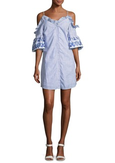 Parker Keegan Striped Button-Front Mini Dress