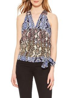 Parker Kenna Python Print Silk Georgette Wrap Top