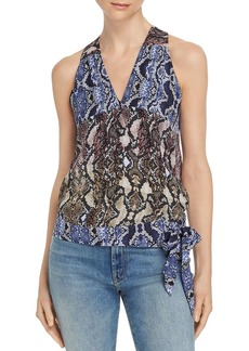 Parker Kenna Snakeskin-Print Silk Wrap Top