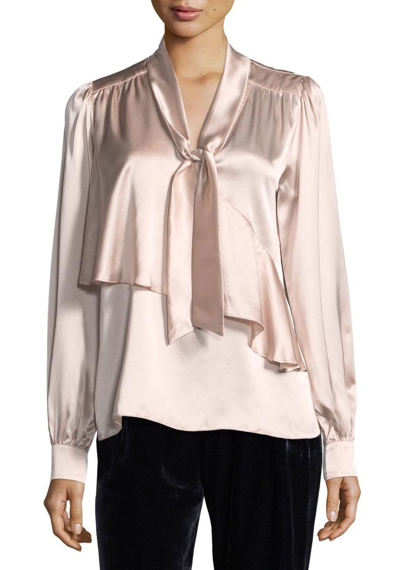 eb198a11101b9a Parker Kinsley Tie-Neck Long-Sleeve Silk Satin Blouse