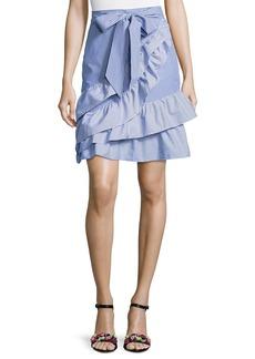 Parker Lambert Bow-Tie Striped Poplin Skirt