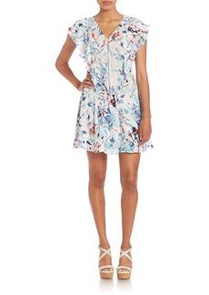 Parker Lana Floral Ruffle Sleeve Silk Dress