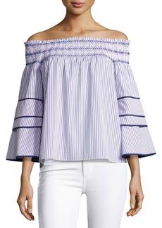 Parker Largo Combo Striped Cotton Blouse