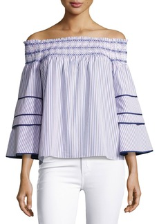 Parker Largo Combo Striped Cotton Blouse