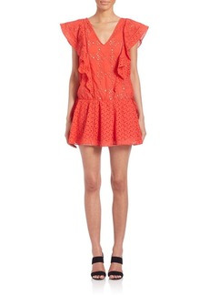 Parker Laser Cut Flutter Sleeve Dress