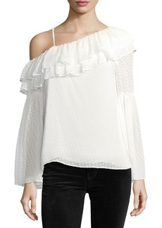 Lima One-Shoulder Dotted Chiffon Blouse