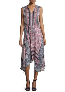 Parker Lota Patchwork-Print Midi Dress