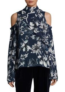 Parker Lulu Cold-Shoulder Floral Silk Blouse