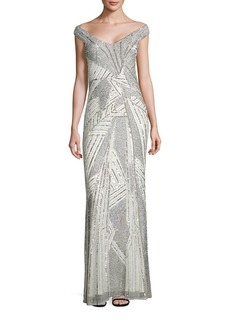Parker Lynn Sequined Off-The-Shoulder Gown