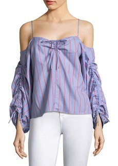 Parker Marden Stripe Off-The-Shoulder Blouse