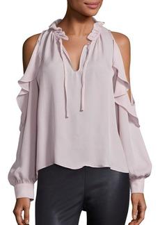 Parker Marjorie Cold-Shoulder Silk Blouse