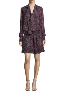 Parker Marybeth Tie-Neck Long-Sleeves Printed Silk Dress