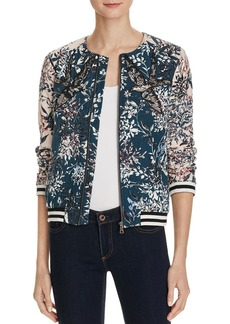 Parker Maverick Floral Print Silk Bomber Jacket