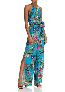Parker Megara Floral-Print Silk Halter Jumpsuit