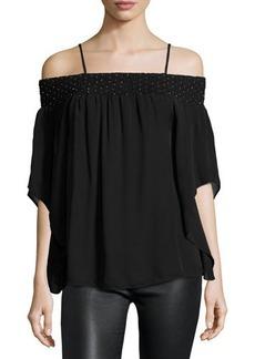 Parker Meilani Embellished Off-the-Shoulder Silk Blouse
