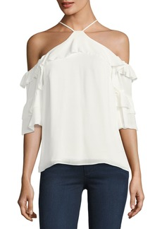Parker Natalia Ruffled Cold-Shoulder Silk Blouse