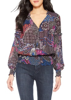 Parker Nina Mix Print Long Sleeve V-Neck Blouse