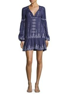 Parker Nola Long-Sleeve Split-Neck Embroidered Minidress