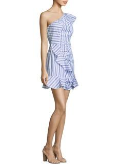 O'Keeffe Cotton Striped One-Shoulder Dress