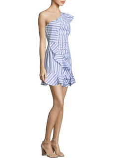 Parker O'Keeffe Cotton Striped One-Shoulder Dress